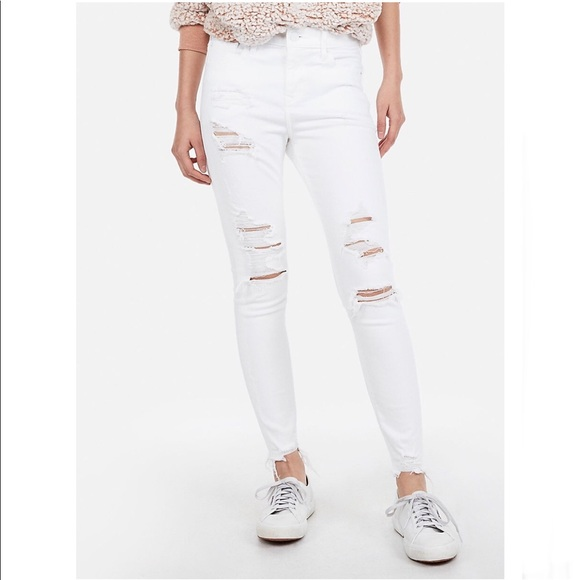 297d87fe8dc53 Express Jeans | White Ripped Stretch Ankle Jeggings | Poshmark